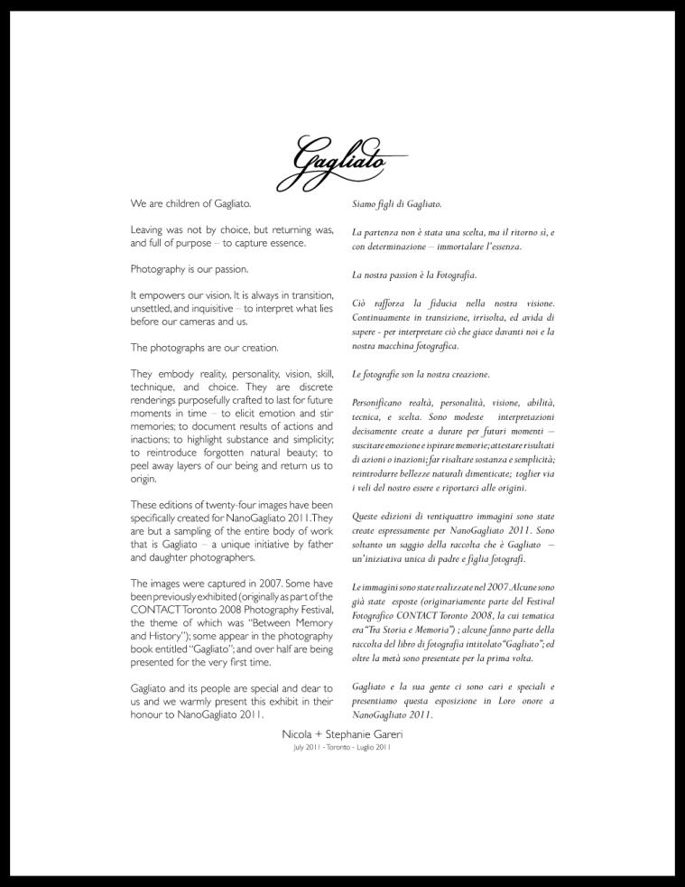 NanoGagliato 2011 Artists' Statement